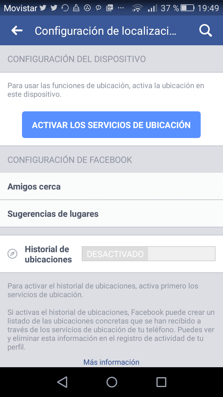 desactivar localización en tus redes sociales