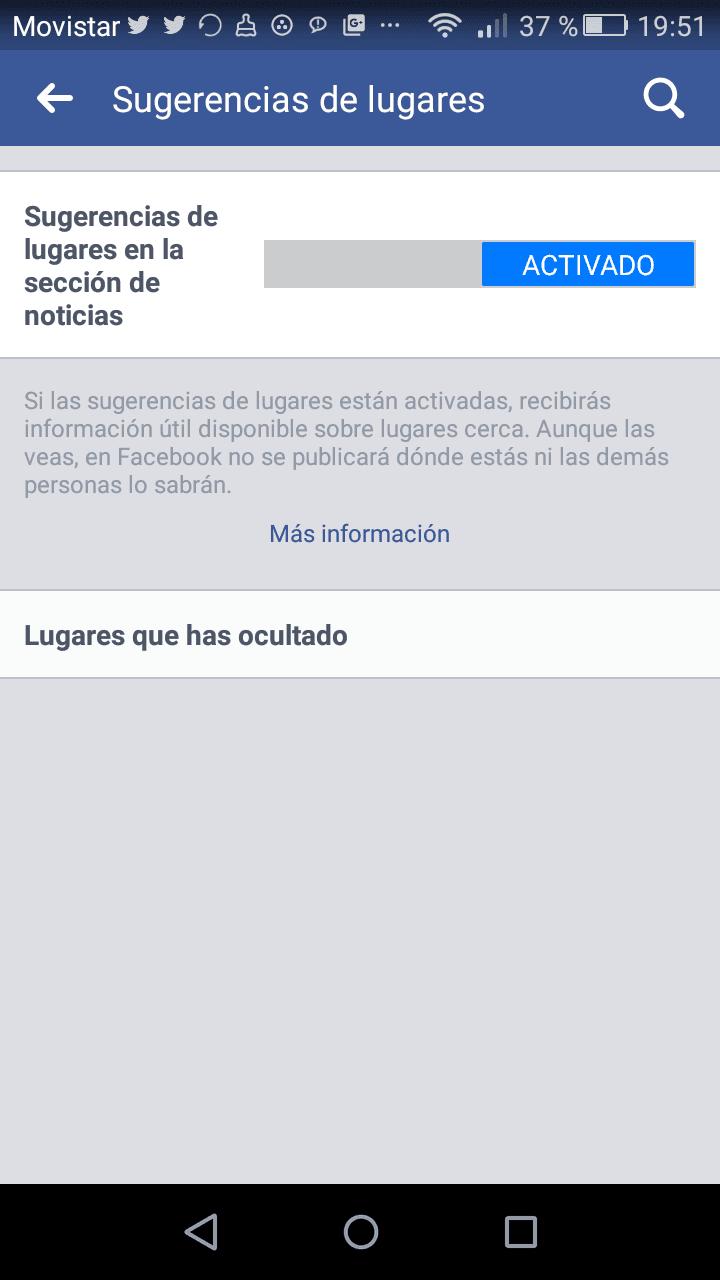 desactivar ubicación en facebook, lugares
