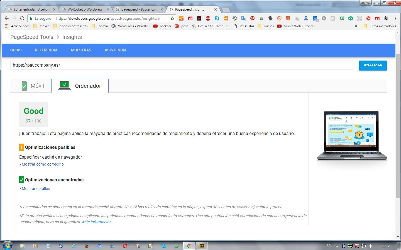 pagespeePC con WPRocket