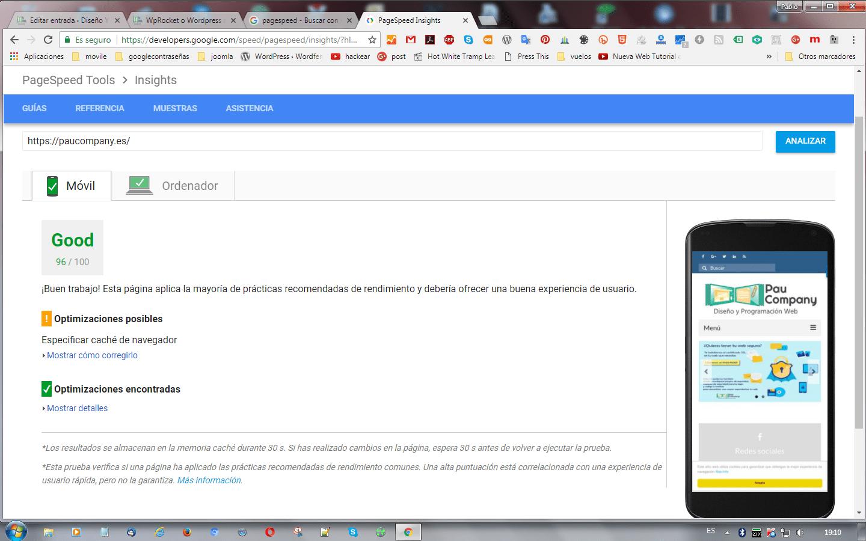 pagespeedmovil con WPRocket