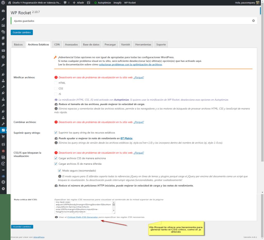 WpRocket o WordPress a la velocidad del rayo